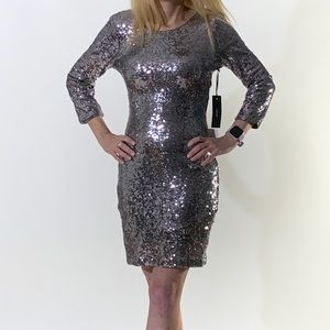 NWT! Lulu's Silver Sequinned Evening Dress Size M